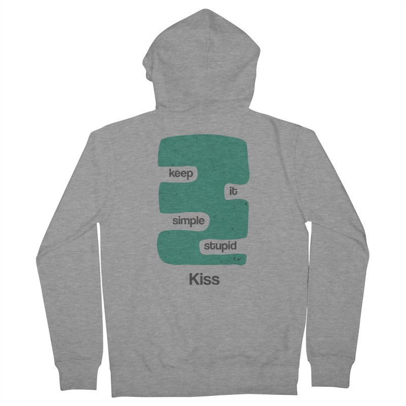 Kiss, Keep it simple stupid - Blue Retro Women's French Terry Zip-Up Hoody by Caligráfica