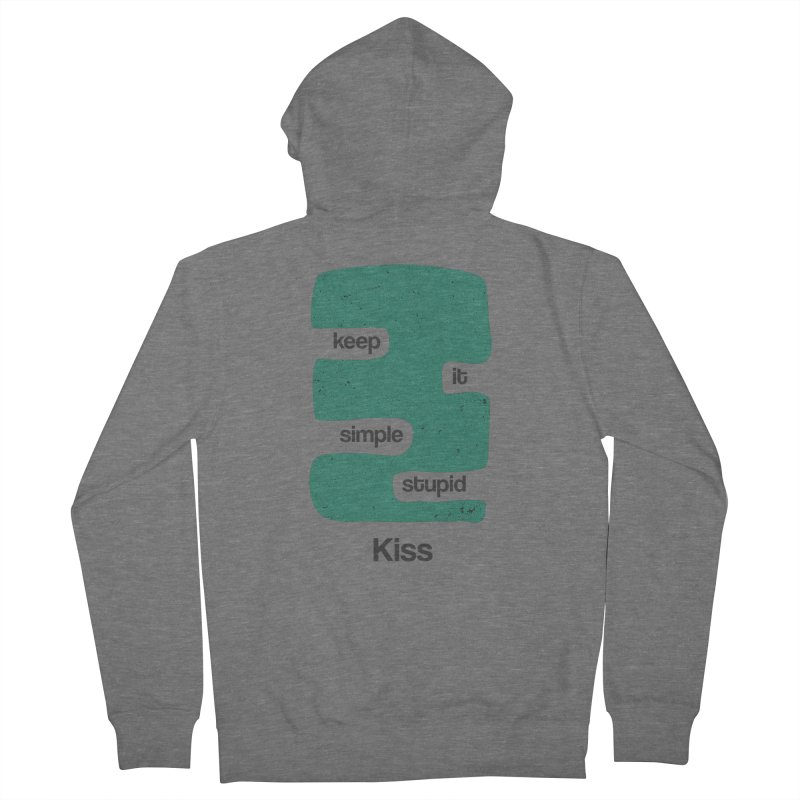 Kiss, Keep it simple stupid - Blue Retro Men's French Terry Zip-Up Hoody by Caligráfica