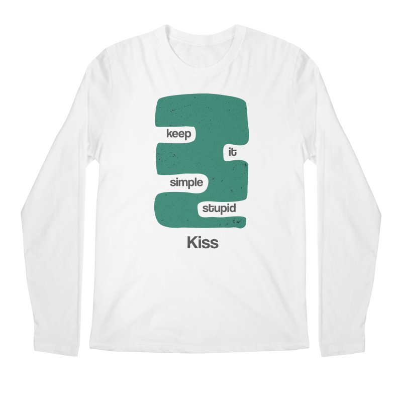 Kiss, Keep it simple stupid - Blue Retro Men's Regular Longsleeve T-Shirt by Caligráfica