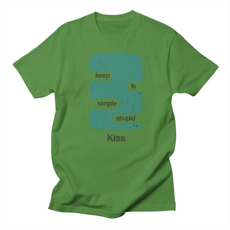 Kiss, Keep it simple stupid - Blue Retro Men's Regular T-Shirt by Caligráfica