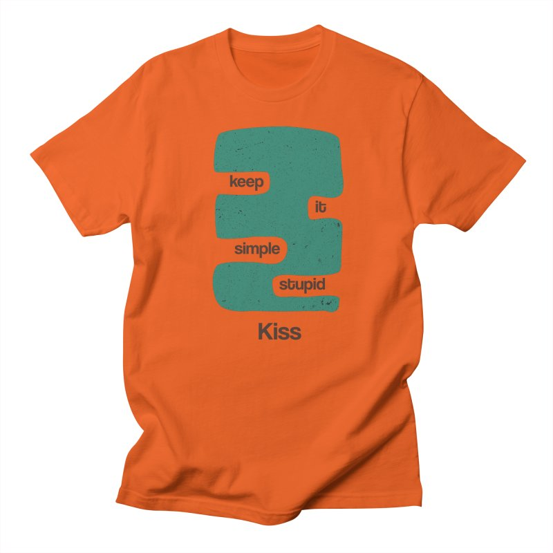 Kiss, Keep it simple stupid - Blue Retro Men's T-Shirt by Caligráfica