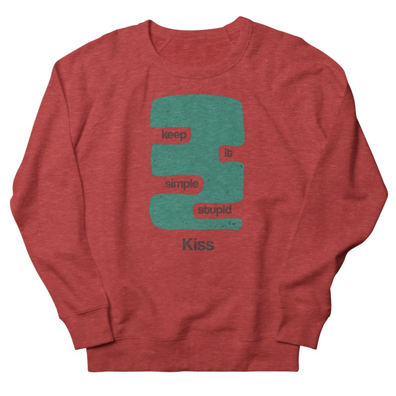 Kiss, Keep it simple stupid - Blue Retro Men's French Terry Sweatshirt by Caligráfica