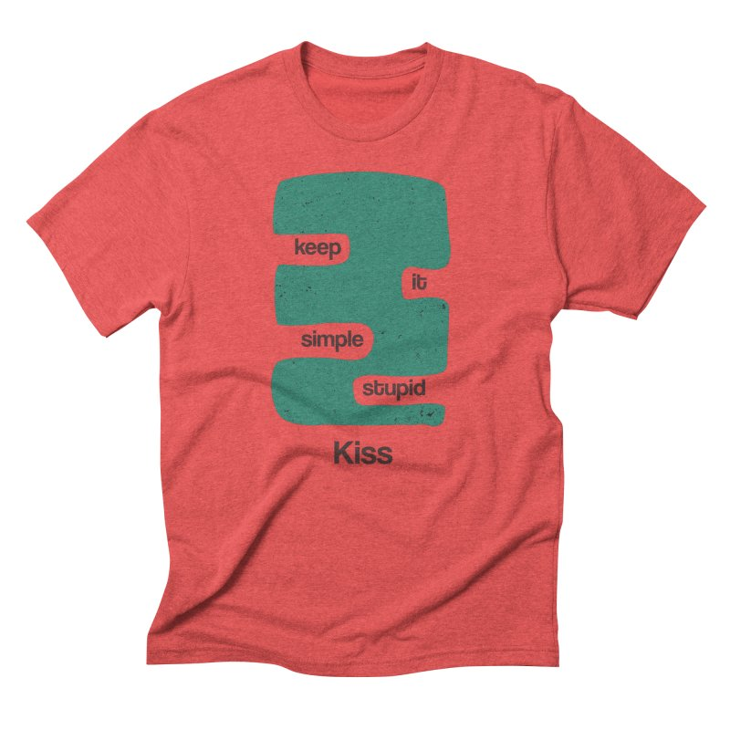 Kiss, Keep it simple stupid - Blue Retro Men's Triblend T-Shirt by Caligráfica