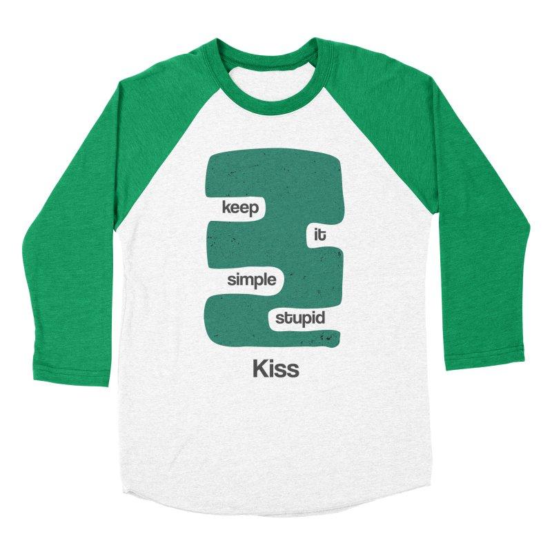 Kiss, Keep it simple stupid - Blue Retro Men's Baseball Triblend Longsleeve T-Shirt by Caligráfica