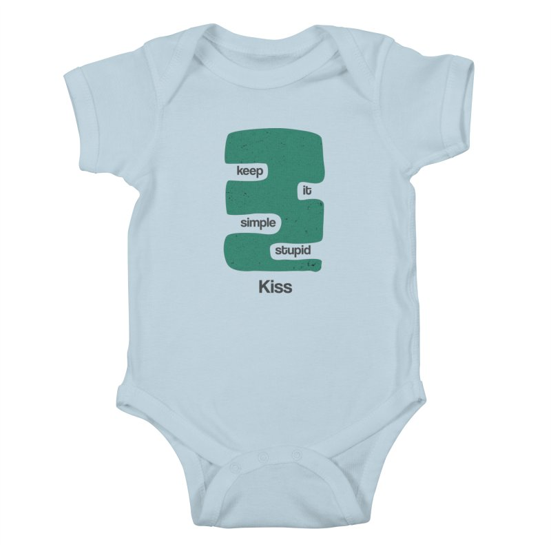 Kiss, Keep it simple stupid - Blue Retro Kids Baby Bodysuit by Caligráfica