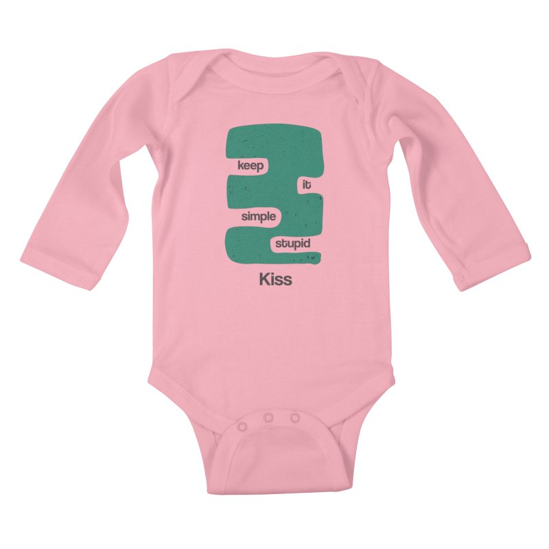 Kiss, Keep it simple stupid - Blue Retro Kids Baby Longsleeve Bodysuit by Caligráfica