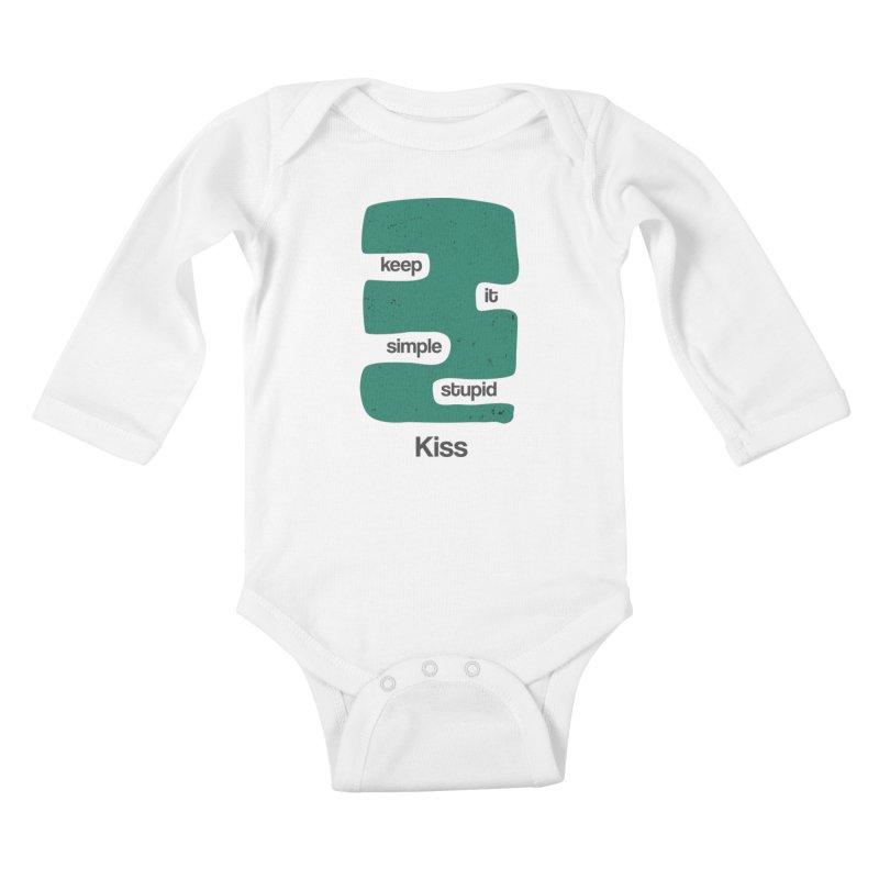 Kiss, Keep it simple stupid - Blue Retro Kids Baby Longsleeve Bodysuit by Caligráfica