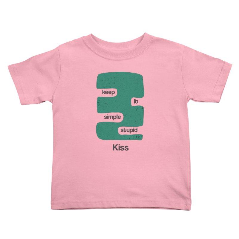 Kiss, Keep it simple stupid - Blue Retro Kids Toddler T-Shirt by Caligráfica
