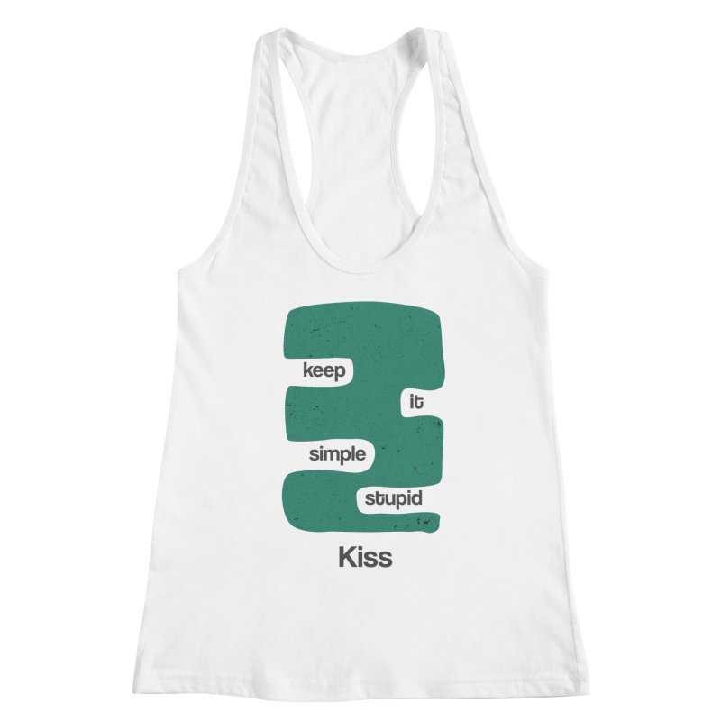 Kiss, Keep it simple stupid - Blue Retro Women's Racerback Tank by Caligráfica