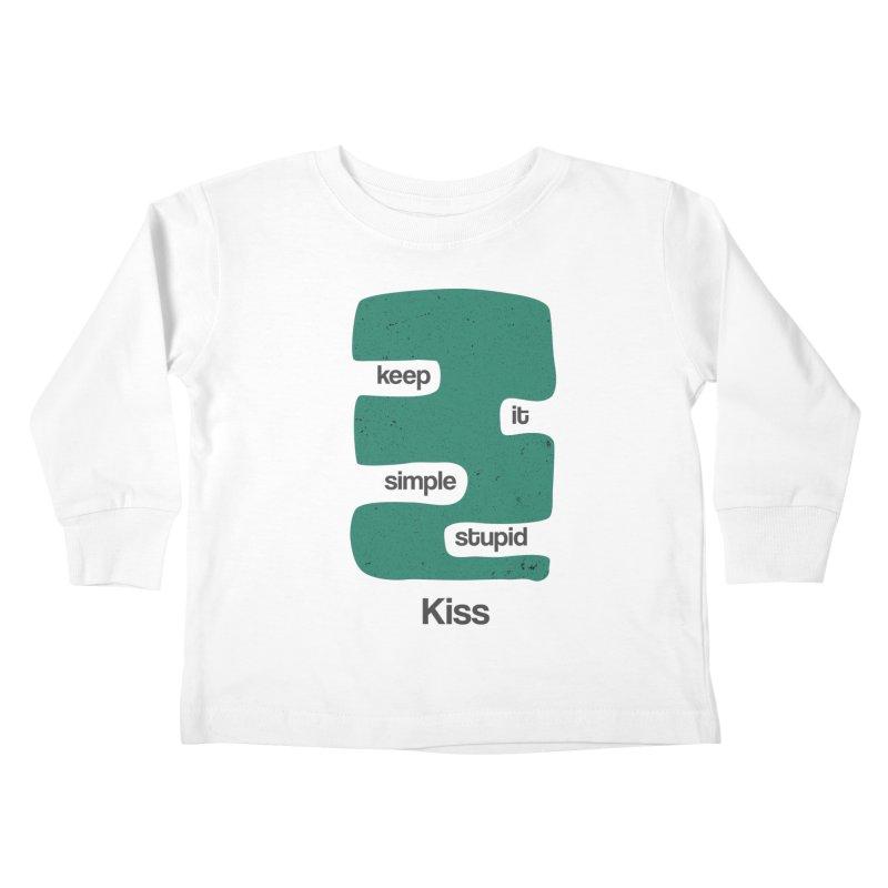 Kiss, Keep it simple stupid - Blue Retro Kids Toddler Longsleeve T-Shirt by Caligráfica