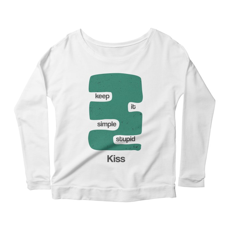 Kiss, Keep it simple stupid - Blue Retro Women's Scoop Neck Longsleeve T-Shirt by Caligráfica