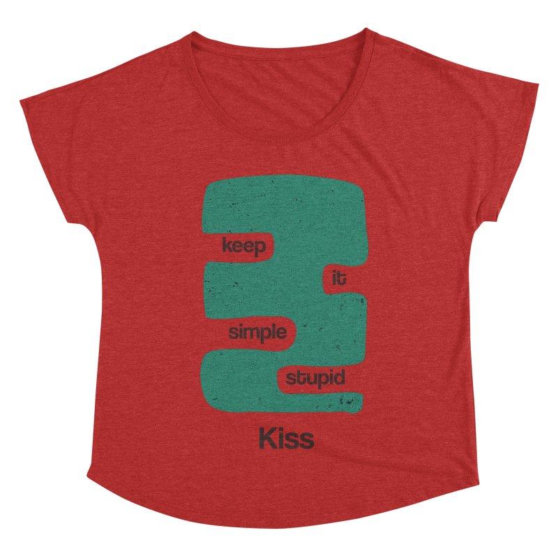 Kiss, Keep it simple stupid - Blue Retro Women's Dolman Scoop Neck by Caligráfica