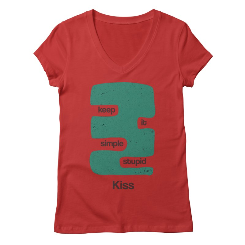 Kiss, Keep it simple stupid - Blue Retro Women's Regular V-Neck by Caligráfica