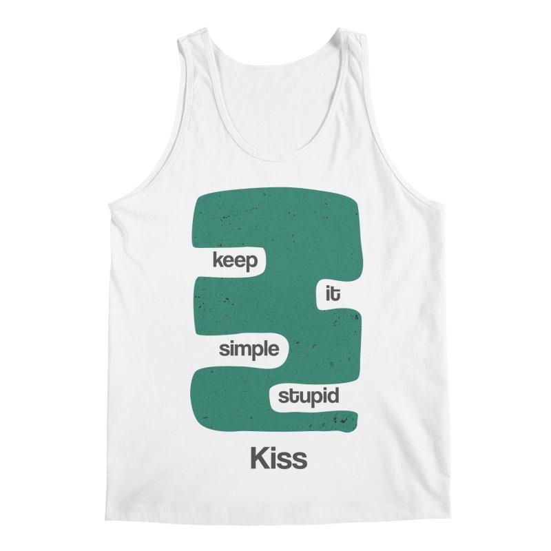 Kiss, Keep it simple stupid - Blue Retro Men's Regular Tank by Caligráfica