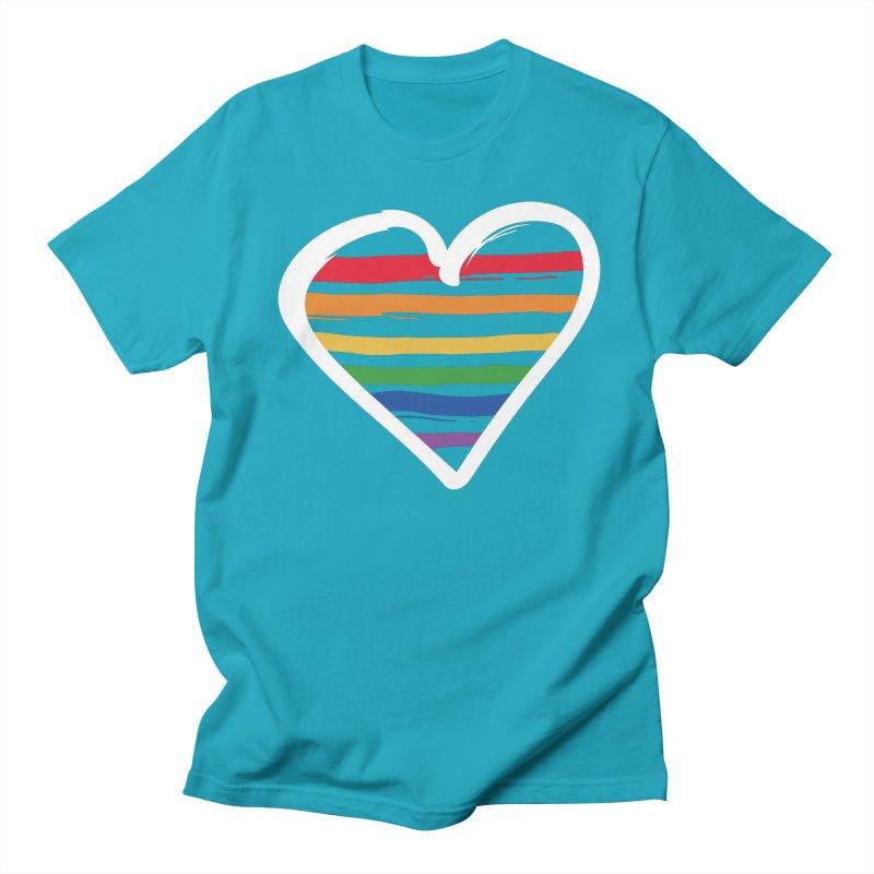 Painted on My Heart in Men's T-Shirt Cyan by Jo Lee