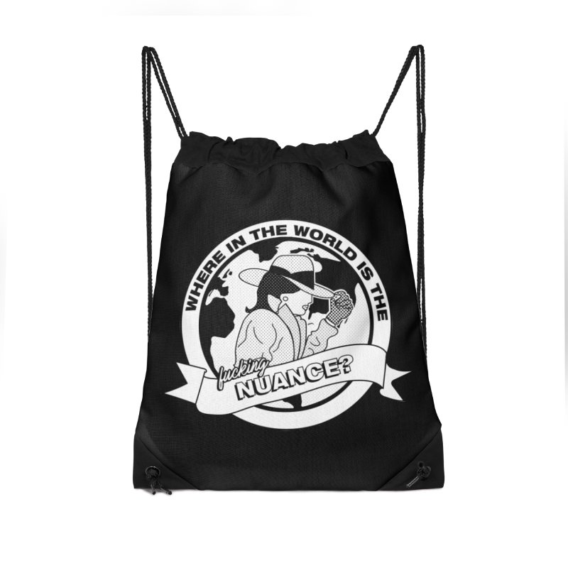 Where is the Nuance? Accessories Drawstring Bag Bag by lil merch