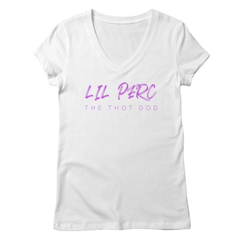 lil perc logo 2019 purp Women's Regular V-Neck by lil merch