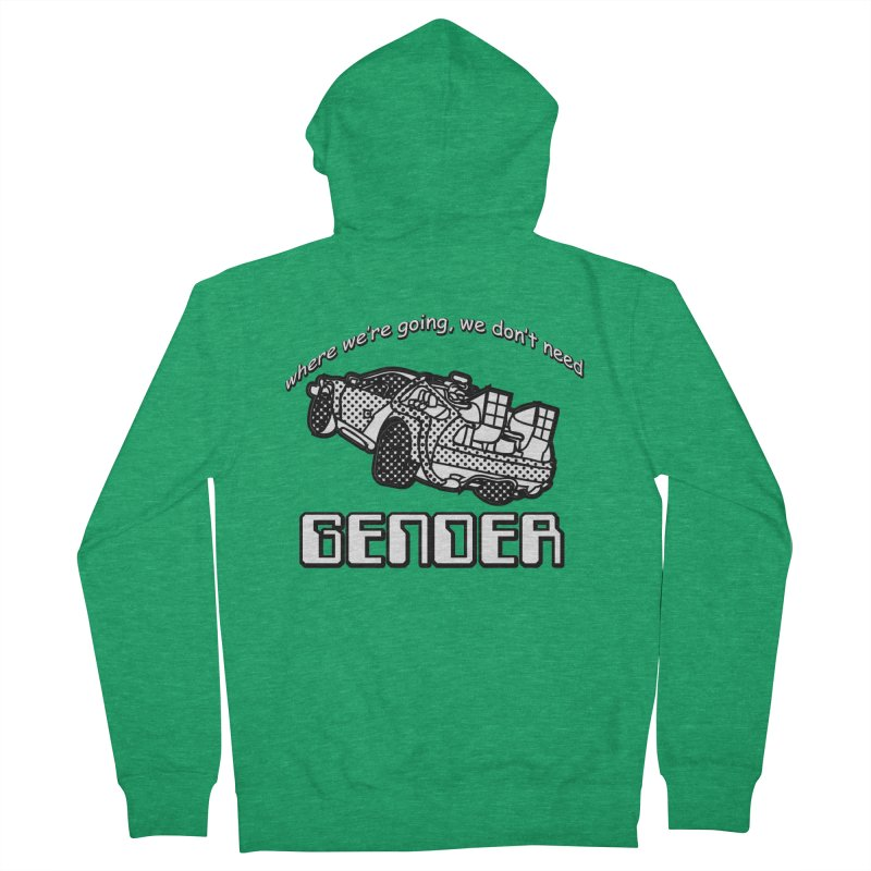 No Gender Delorean (BW) Men's French Terry Zip-Up Hoody by lil merch