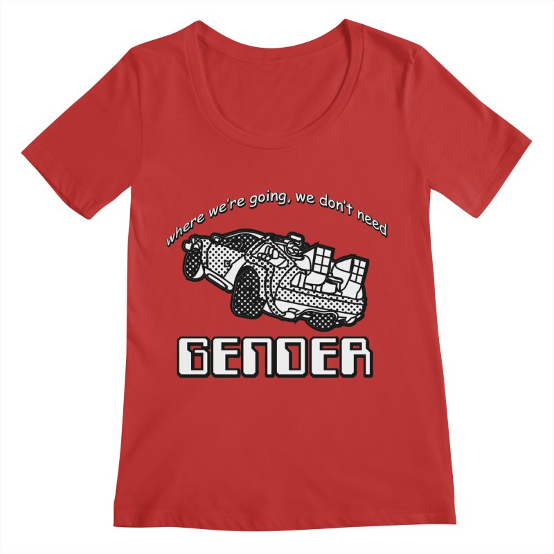 No Gender Delorean (BW) Women's Regular Scoop Neck by lil merch