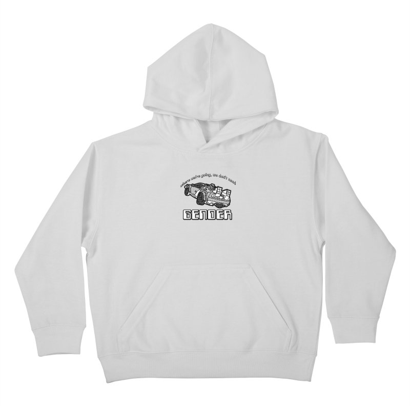 No Gender Delorean (BW) Kids Pullover Hoody by lil merch