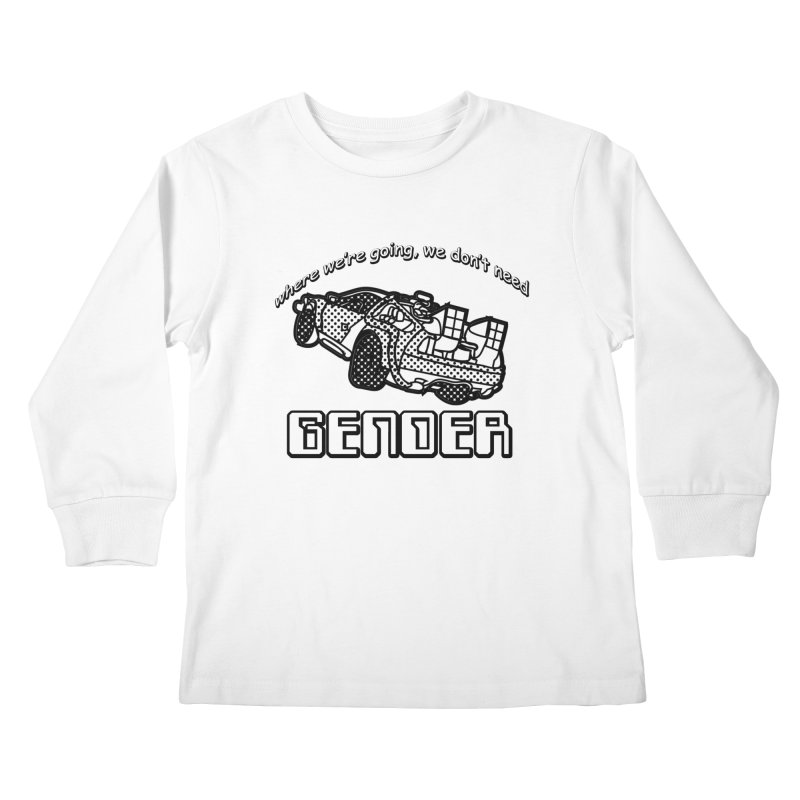 No Gender Delorean (BW) Kids Longsleeve T-Shirt by lil merch