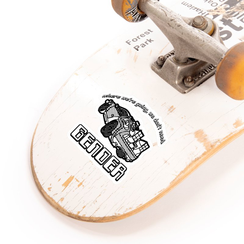 No Gender Delorean (BW) Accessories Sticker by lil merch
