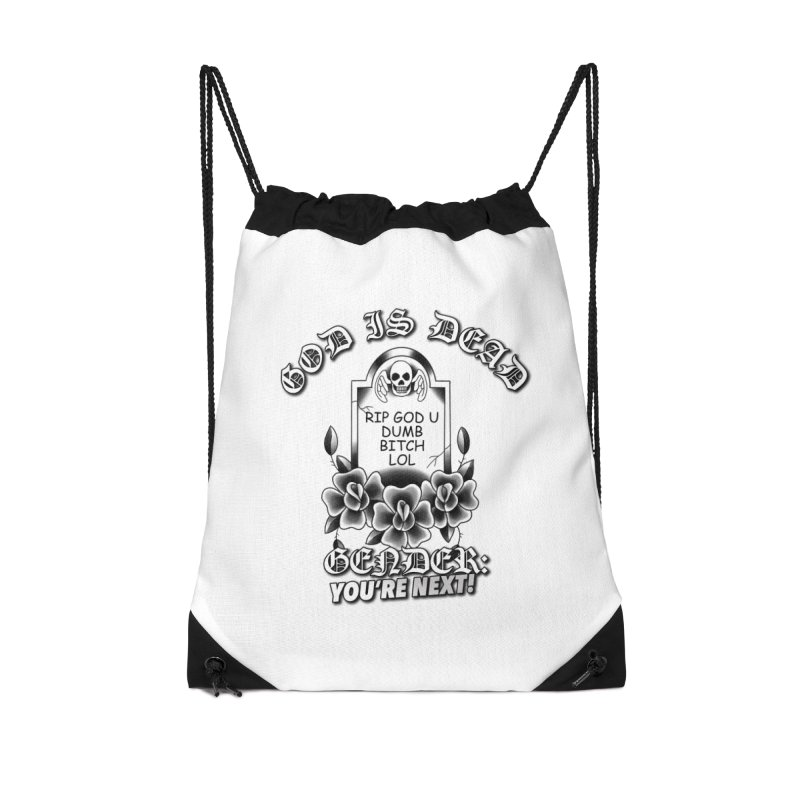Gender You're Next! (BW) Accessories Drawstring Bag Bag by lil merch