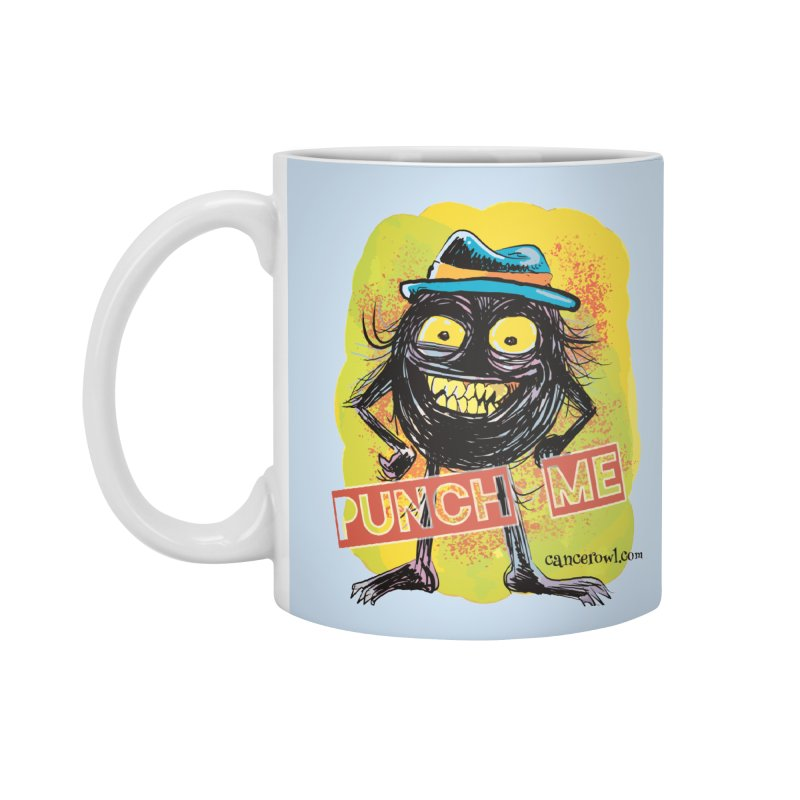Cancer (punch me) blue background Accessories Mug by cancerowl's Artist Shop
