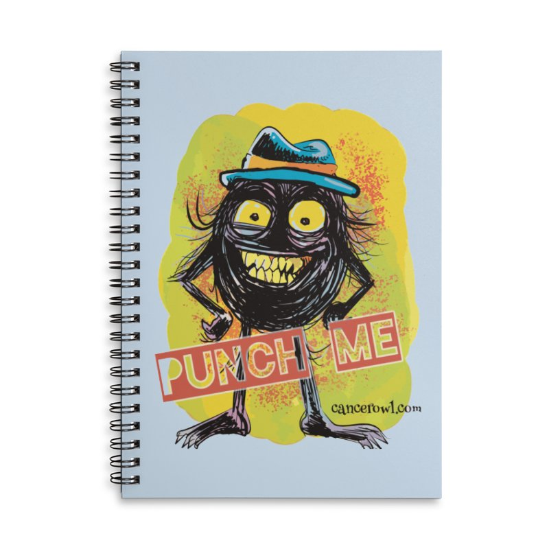 Cancer (punch me) blue background Accessories Lined Spiral Notebook by Cancer Owl Store