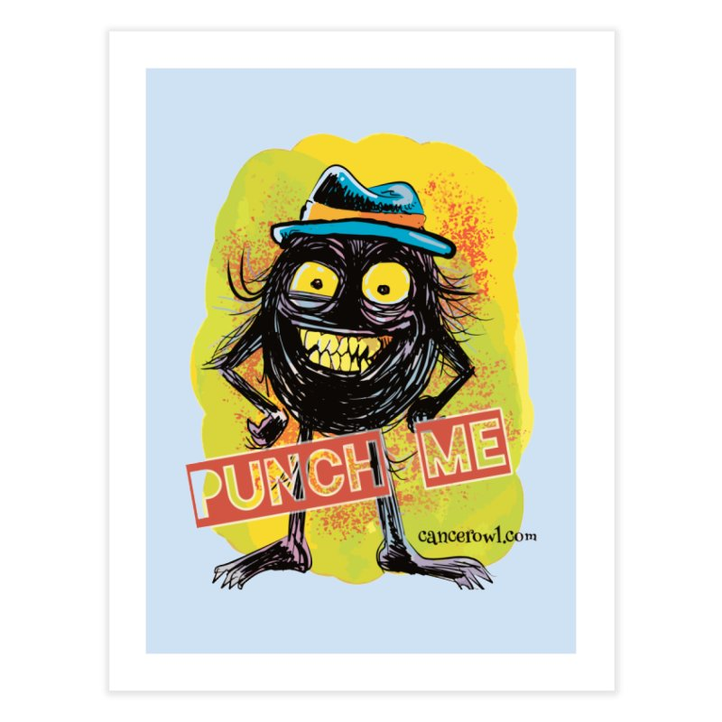 Cancer (punch me) blue background Home Fine Art Print by Cancer Owl Store