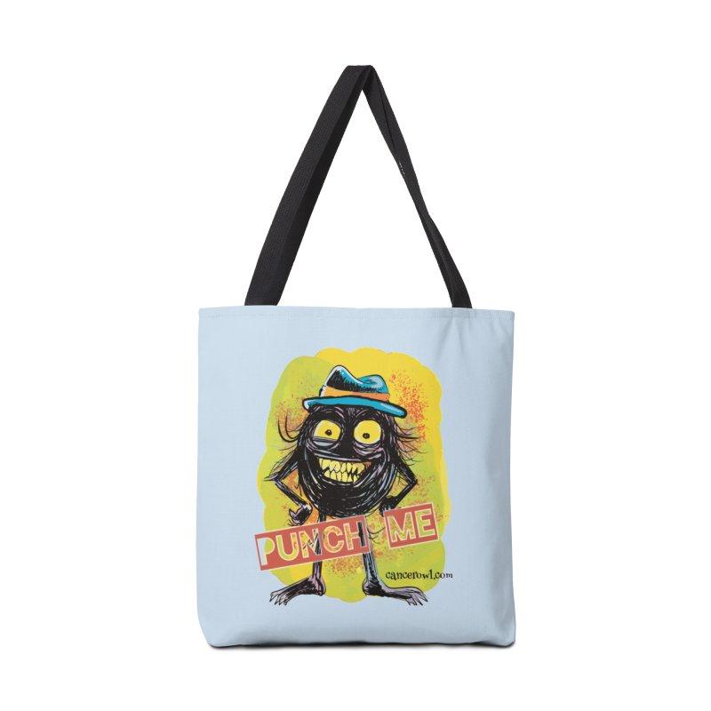 Cancer (punch me) blue background Accessories Tote Bag Bag by Cancer Owl Store