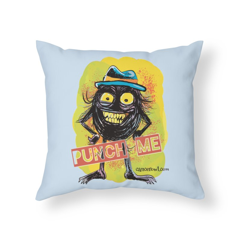 Cancer (punch me) blue background Home Throw Pillow by cancerowl's Artist Shop