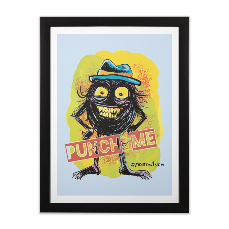 Cancer (punch me) blue background Home Framed Fine Art Print by Cancer Owl Store