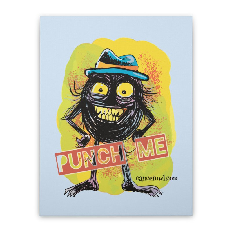 Cancer (punch me) blue background Home Stretched Canvas by Cancer Owl Store