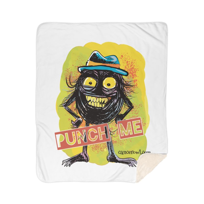 Punch Me!! Home Sherpa Blanket Blanket by Cancer Owl Store