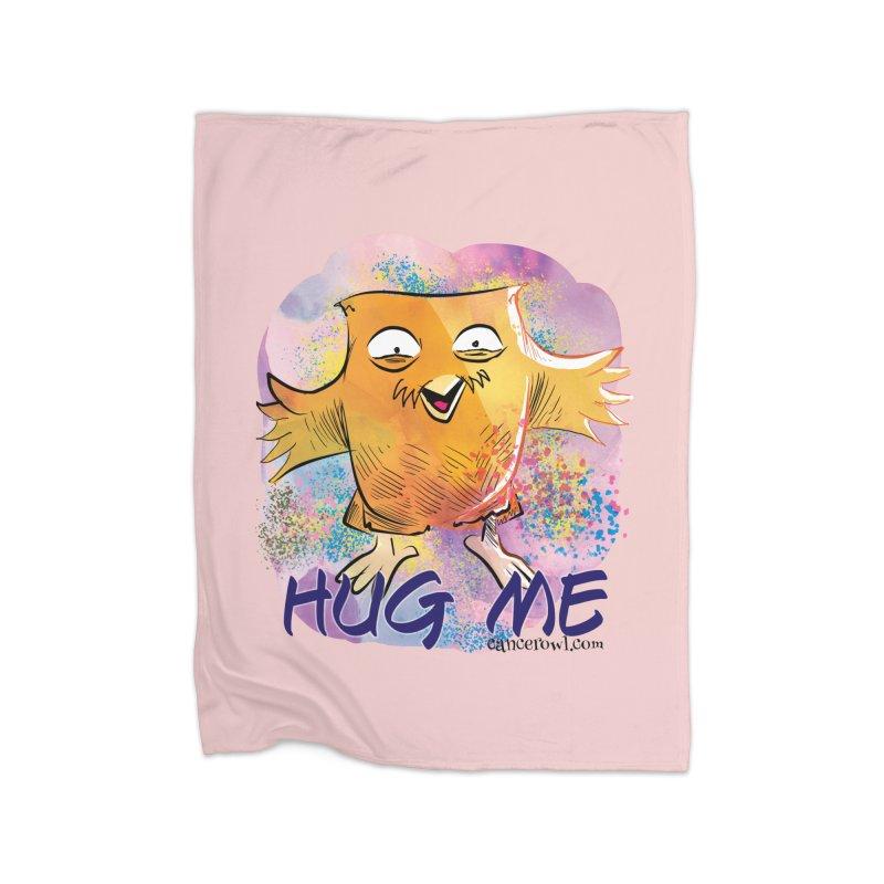 Hug Me!! Pink background Home Fleece Blanket Blanket by Cancer Owl Store