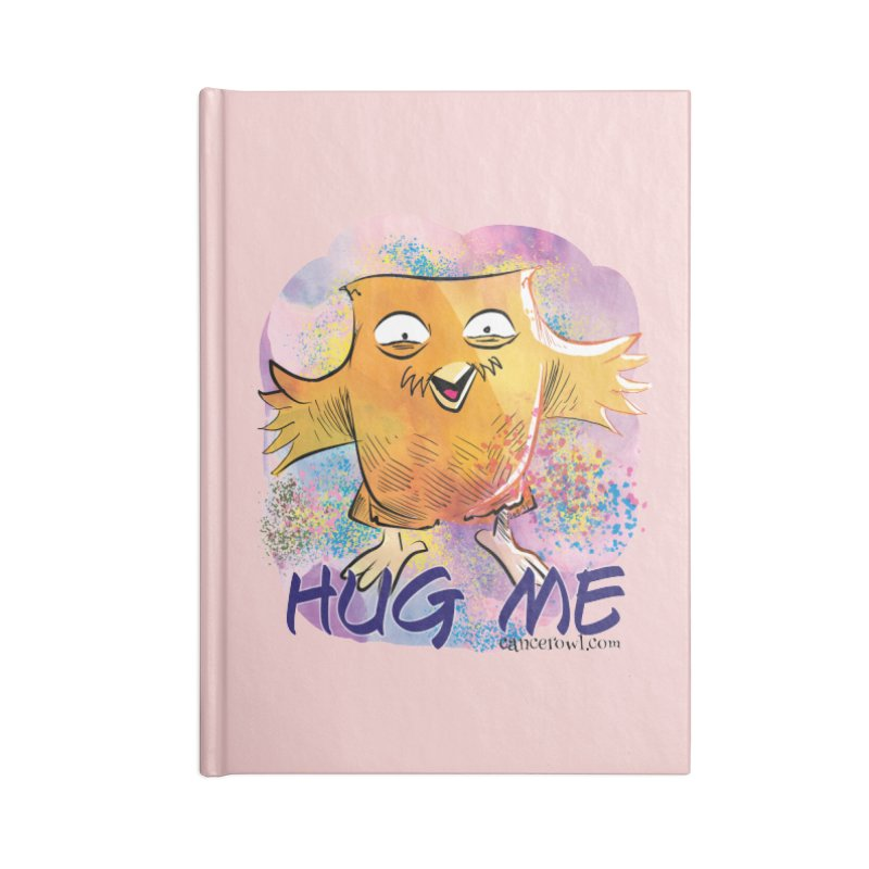 Hug Me!! Pink background Accessories Blank Journal Notebook by Cancer Owl Store