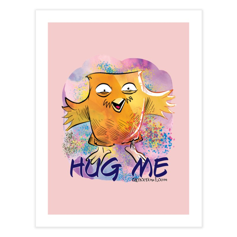 Hug Me!! Pink background Home Fine Art Print by Cancer Owl Store