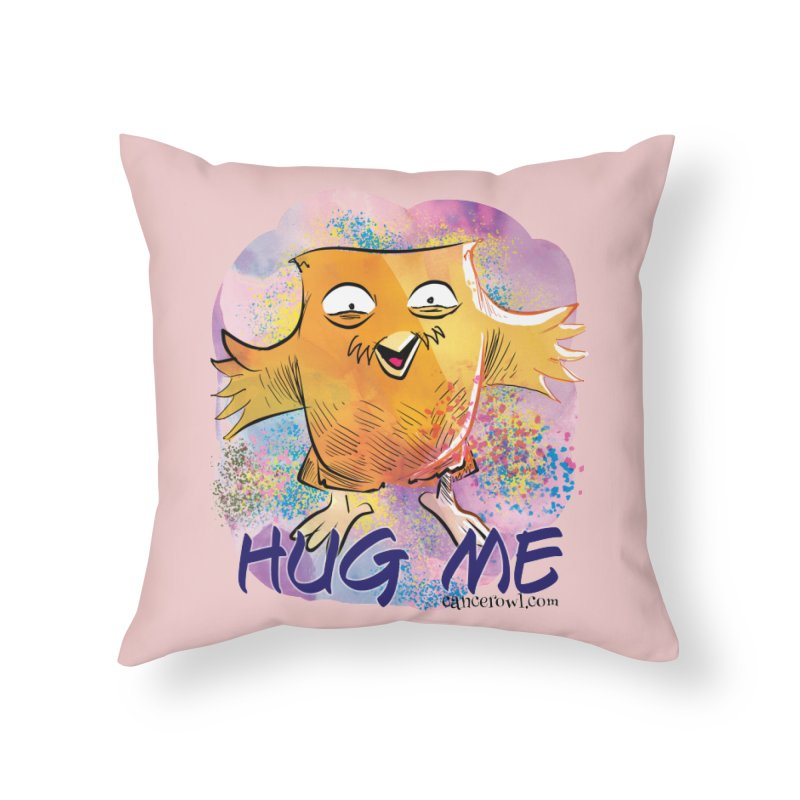 Hug Me!! Pink background Home Throw Pillow by cancerowl's Artist Shop