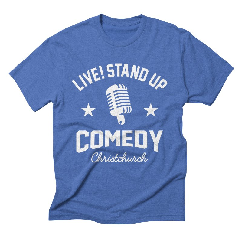 Live! Stand Up Chch White in Men's Triblend T-Shirt Blue Triblend by Can Do Comedy Official Merchandise Store