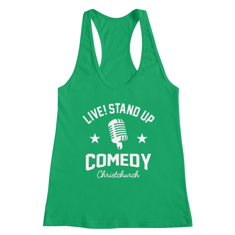 Live! Stand Up Chch White Women's Tank by Can Do Comedy Official Merchandise Store