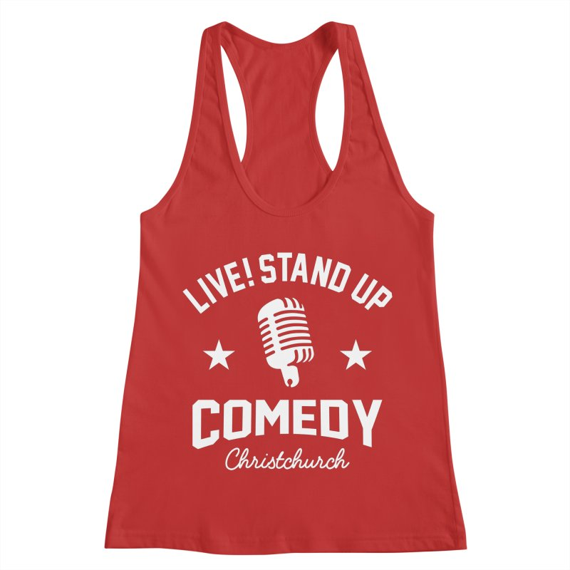 Live! Stand Up Chch White Women's Racerback Tank by Can Do Comedy Official Merchandise Store