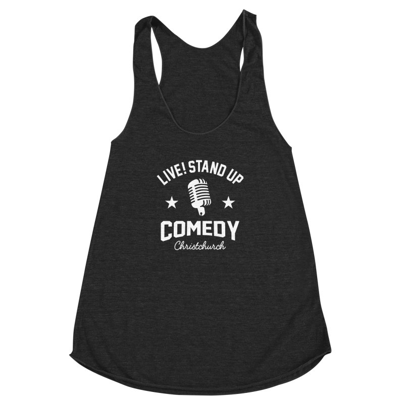 Live! Stand Up Chch White Women's Racerback Triblend Tank by Can Do Comedy Official Merchandise Store