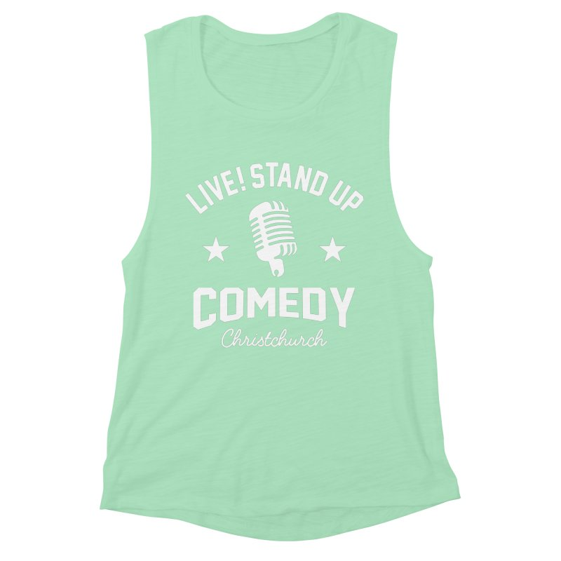 Live! Stand Up Chch White Women's Muscle Tank by Can Do Comedy Official Merchandise Store