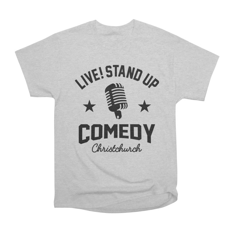 Live! Stand Up Chch Black Women's Heavyweight Unisex T-Shirt by Can Do Comedy Official Merchandise Store