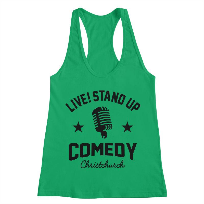 Live! Stand Up Chch Black Women's Racerback Tank by Can Do Comedy Official Merchandise Store