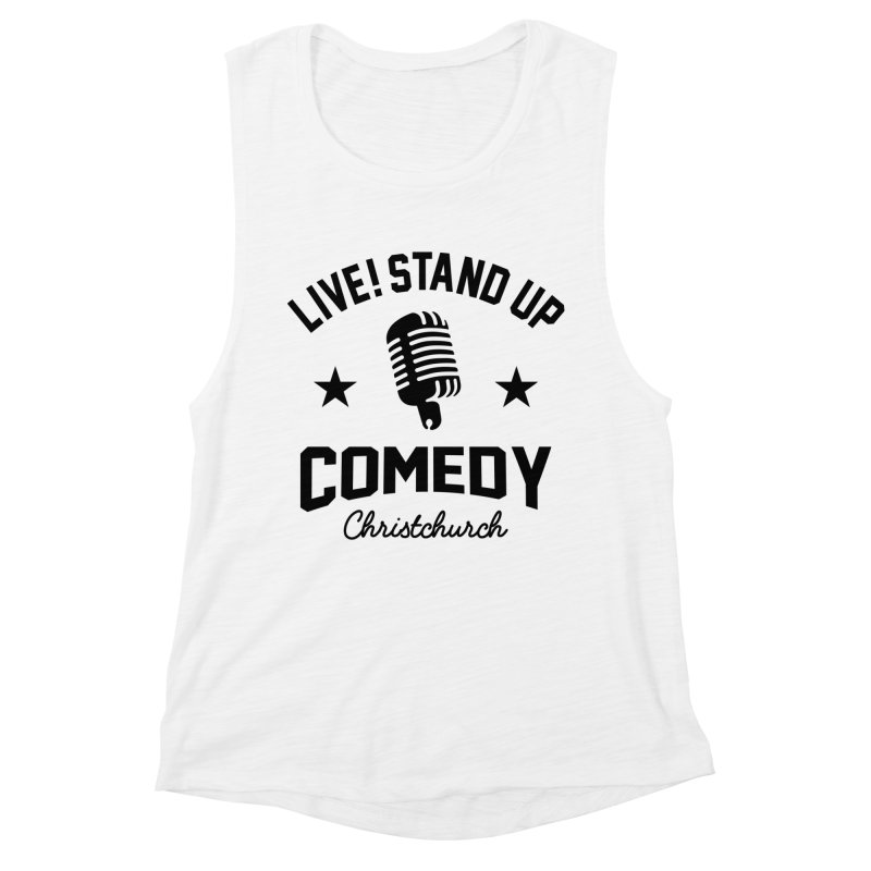 Live! Stand Up Chch Black Women's Muscle Tank by Can Do Comedy Official Merchandise Store