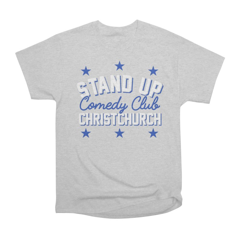 Stand Up Stars Blue Women's Heavyweight Unisex T-Shirt by Can Do Comedy Official Merchandise Store
