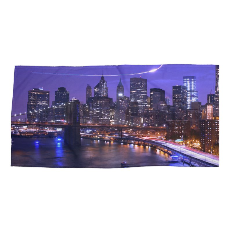 Purple City - NY Accessories Beach Towel by Cappytann's Artist Shop