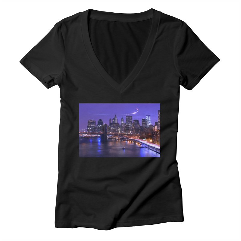 Purple City - NY Women's V-Neck by Cappytann's Artist Shop